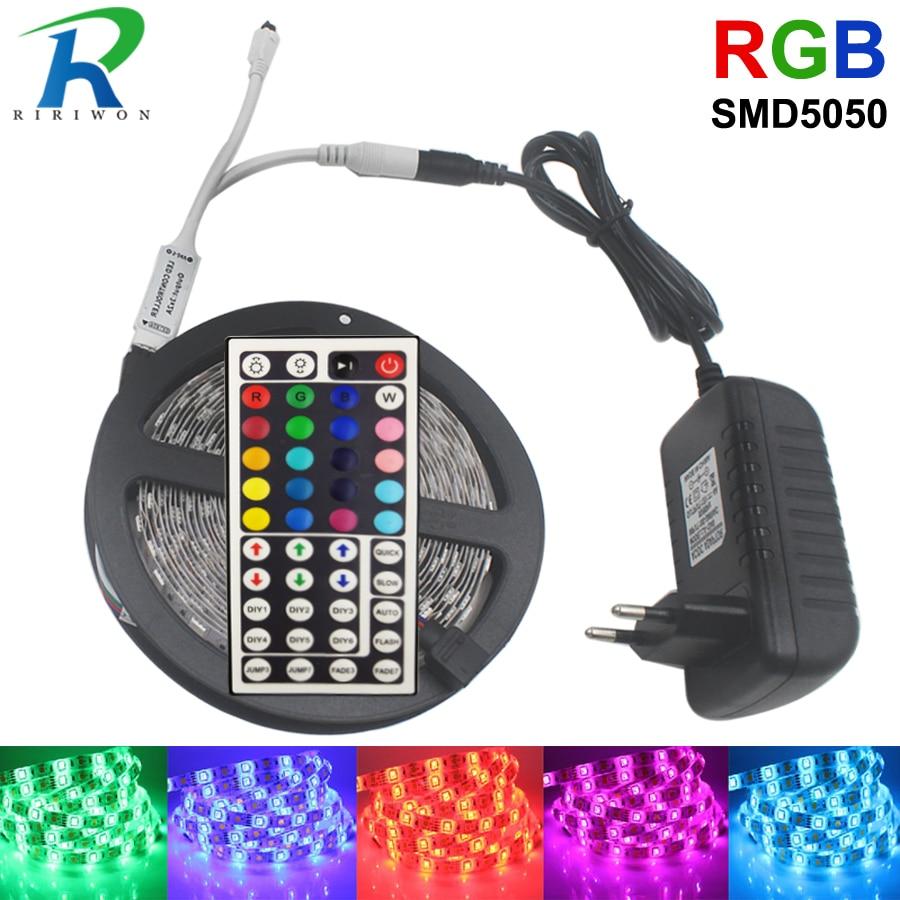 LED tira DC 12 V SMD 5050 RGB tira de cinta de luz LED diodo Flexible cinta rayas 4 m 5 M 10 m con controlador adaptador del kit del sistema