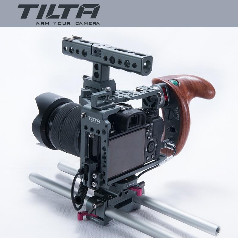 Tilta ES-T17-A plate-forme Alpha 7 Cage A7S A7S2 A7R A7R2 plate-forme Cage plaque de base nouvelle poignée en bois pour SONY A7 série caméra