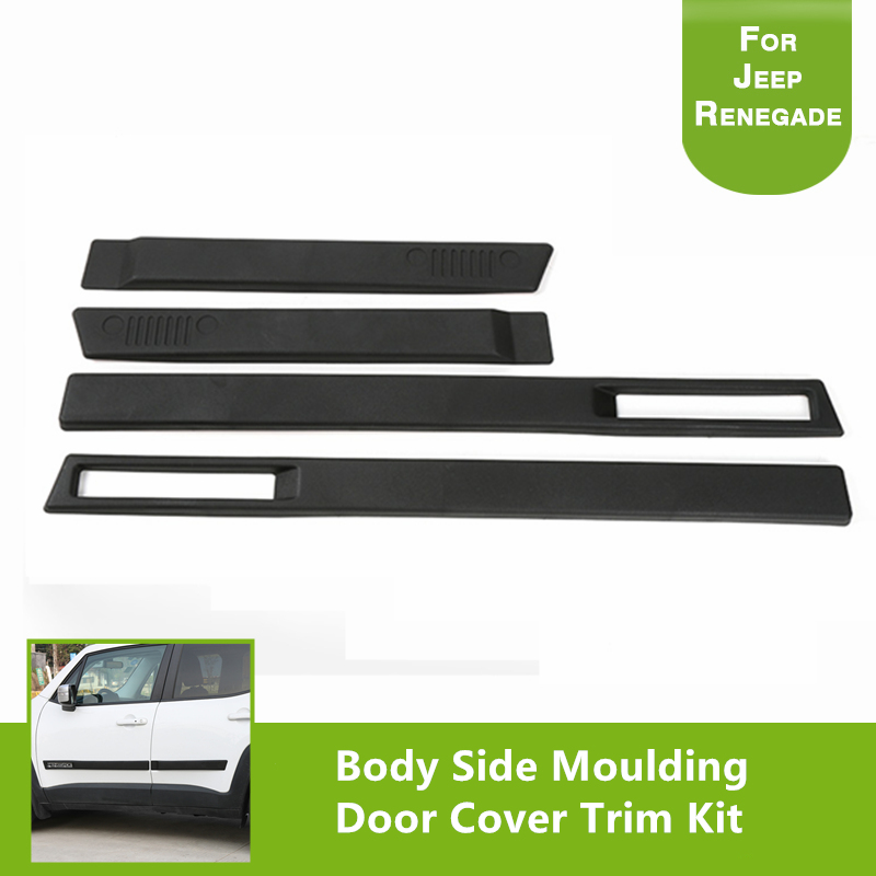 4pcs ABS Body Side Moulding Door Cover Trim Kit Molding Protector For Renegade 2015 2016 2017
