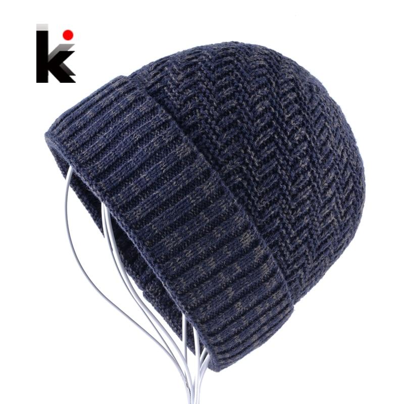 Hombre de lana Skullies tejer gorros de invierno sombrero para hombres  doble capa caliente gorras muchacho grueso esquís hueso touca Inverno 3698f4bc6aaf
