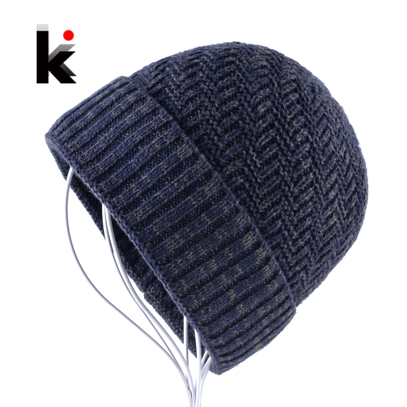 Men's Knitted Wool   Skullies   Winter Knitting   Beanies   Hat For Men Double Layer Warm Bonnet Caps Boy Thick Skis Bone Touca Inverno