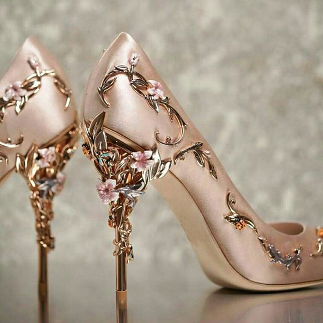 03db065b35 Baimier 2018 Luxury Brand Women Pumps Flower Heel Wedding Shoes Women  Elegant Silk High Heels Women Shoes Plus Size 40 41 42