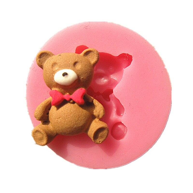 M0584 Mini Teddy Bear fondant kūka veidnes ar ziepju šokolādes veidni virtuves cepšanai Silikona cukura kūka Decoarion rīks