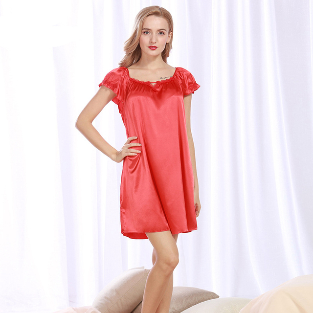 29ee55418e82 NG093 Satin Silk Women Nightgown Short Sleeves Night Dress Sexy Summer  Sleepwear Brand Nightwear Lingerie Female Nightdress Gown