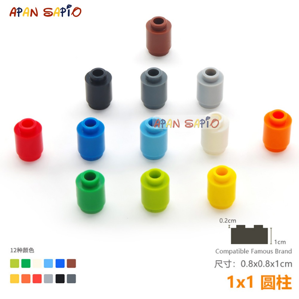 50pcs/lot DIY Blocks Building Bricks Cylindrical Educational Assemblage Construction Toys For Children Size Compatible With Lego