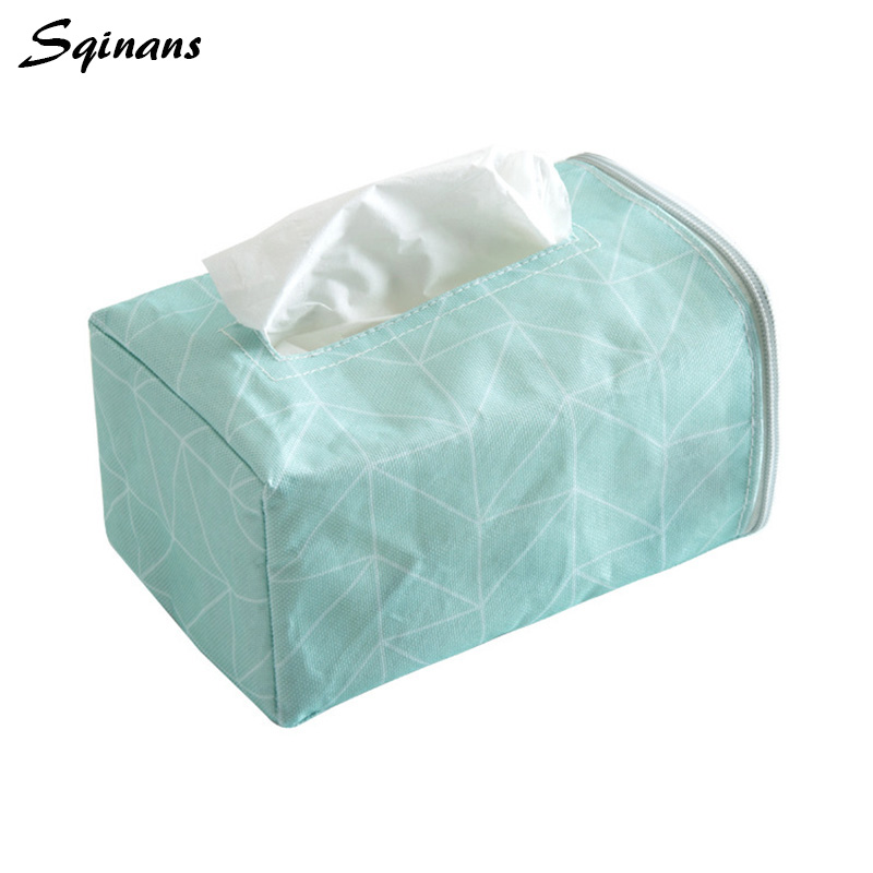 Sqinans Fabric Car Tissue Box Holder Chair Back Hanging Tissue Cover Storage Bag Pouch