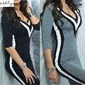 Makuluya 2016 moda mulheres vestidos de gola V 3 cores splice luva médio vestidos sexy plus size vestidos PRETO CINZA Q-85-33