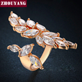2016 Novo e Luxuoso AAA CZ Rose/Branco Banhado A Ouro Moda Redimensionável Anel Jóias Para As Mulheres Do Partido ZYR349-1 ZYR349-2