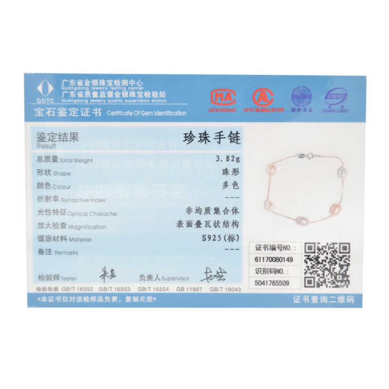ASHIQI สร้อยข้อมือเงินแท้ 925 สำหรับผู้หญิง 7-8 มม.เครื่องประดับไข่มุกน้ำจืดธรรมชาติ 4 สี