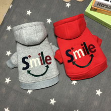 New arrival Smile Letter 100%Cotton Thick Coat Small Dog Clothes Red Gay Blue 3 Colors Warm And Comfortable Pet Jackets XXL Win