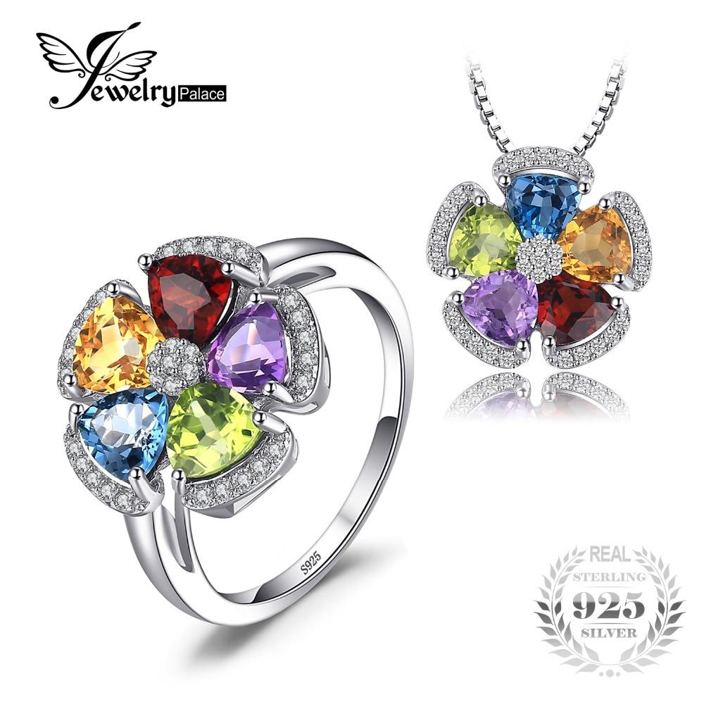 Jewelrypalace 5.2ct подлинная голубой топаз, аметист, цитрин гранат перидот кольцо Подвески Ювелирные наборы 925 серебро