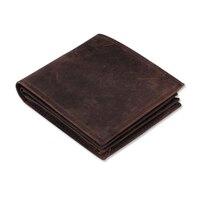 Men Wallet Crazy Horse Genuine Leather Purse Money Vintage Zipper Card Holder Coin Photo High Quality