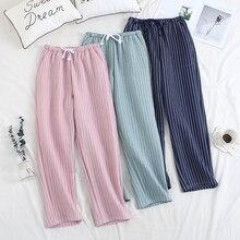 Women Sleep Trousers Winter Pajama Pants Thickened Air Layer Warm Women