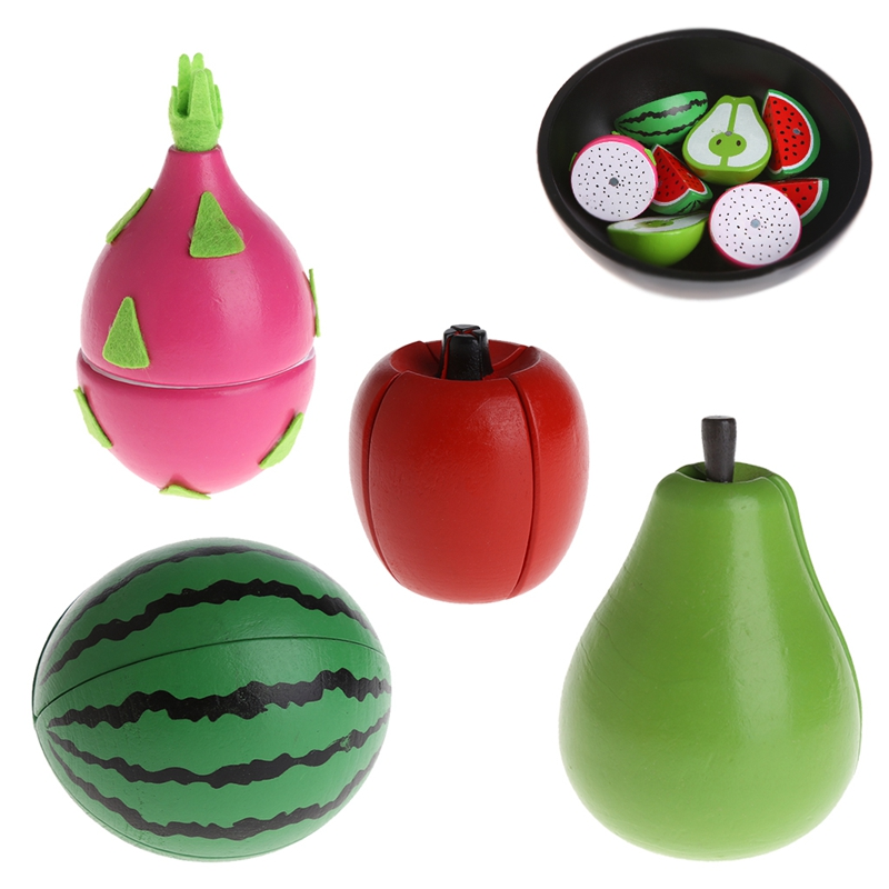 Wood Cutting Food Fruit Chopping Pretend Play Educational Toy Gift For Children