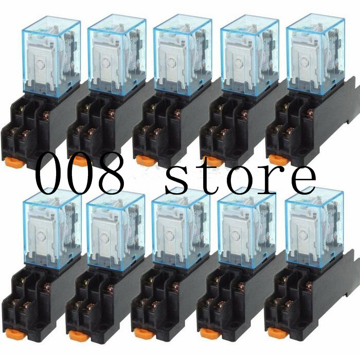 10Pcs 12V 24V DC 110V 220V AC Coil Power Relay LY2NJ DPDT 8 Pin HH62P JQX-13F With Socket Base OK 10 pcs car spdt 5 pin 1no 1nc green indicator relay ceramic socket 80a 12v dc