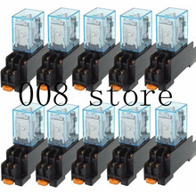 10Pcs 12V 24V DC 110V 220V AC Coil Power Relay LY2NJ DPDT 8 Pin HH62P JQX-13F With Socket Base OK