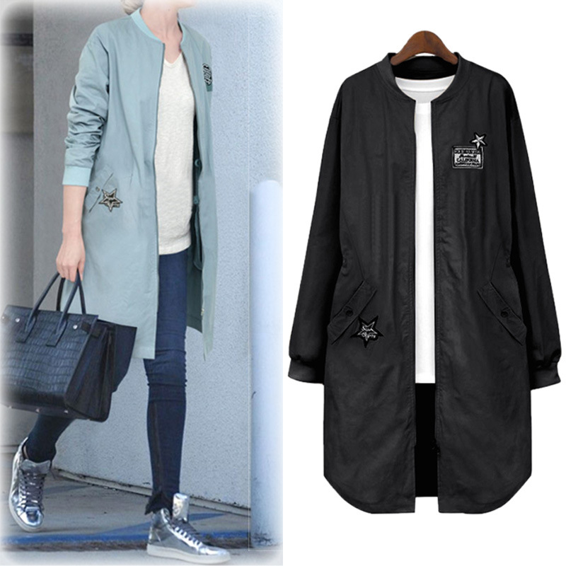 New Spring Autumn Women Coat Plus Size Fashion Patch Designs Solid Nine Quarter MD-Long   Trench   Coat For Women Large Outerwear