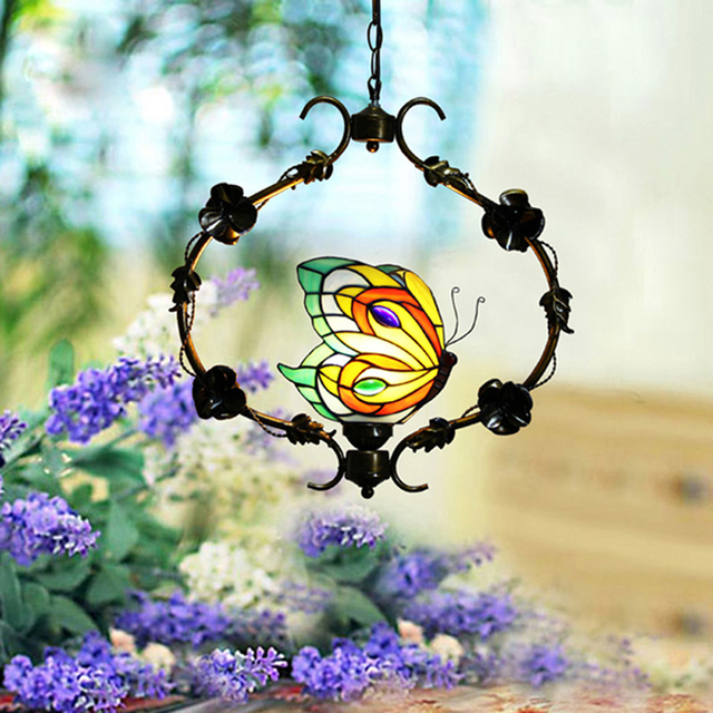 FUMAT Pendant Light Stained Glass Suspension Luminaire Single Butterfly Pendant Lamp Lamparas Hanglamp Color Glass Pendant Lamp