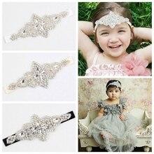 Flower Headband Hair-Accessories Rhinestone Vintage Children Photo-Props Girls Kids Crystal