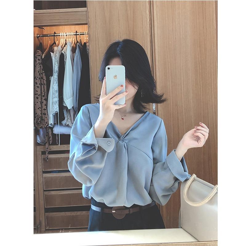 Retro Sexy Chiffon V neck New Spring 2019 Design Exposed Clavicle Shirt Sense Women's wATxfYqz