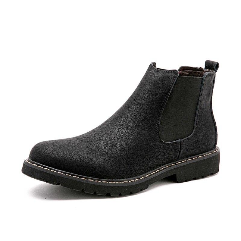 Size 38-45 Chelsea Boots Men Winter Shoes Black Split Leather Boots Mens Footwear Warm Plush Fur Winter Boots For Men