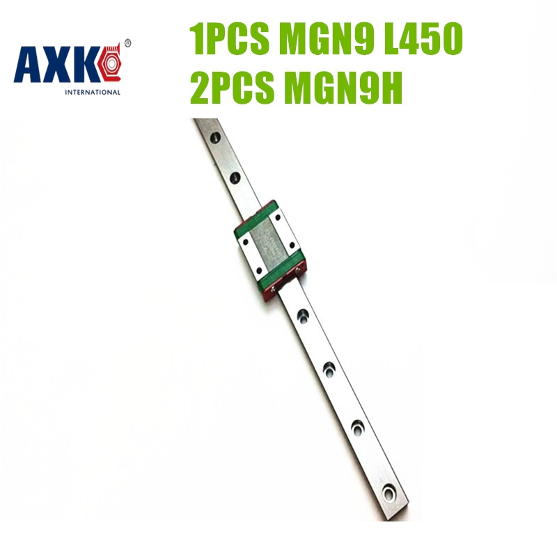 Axk 1pc Mgn9 450mm Linear Guide Rail And 2pcs Mgn9h Linear Slide Block Carriage - Reprap Cnc 3d Printer free shipping 100 1500mm linear guide rail slide module ball screw and motor for 3d printer parts kit and cnc engraver machine