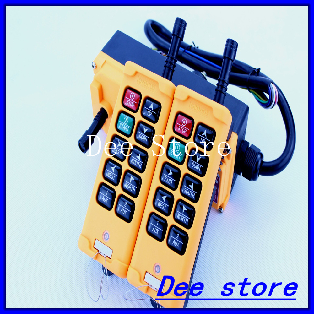 2 Transmitters 8 Channels 1 Speed Hoist Crane Truck Remote Control Push Button Switch System 2pcs receiver transmitters with 2 dual button remote control wireless remote control switch led light lamp remote on off system
