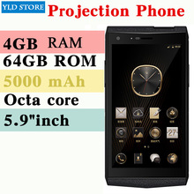 "M3 Smartphone 4 GB 64 GB Octa Core Projektor mobile Business mobile Mini familie projektor 5000 mAH 5,9 ""ZOLL"