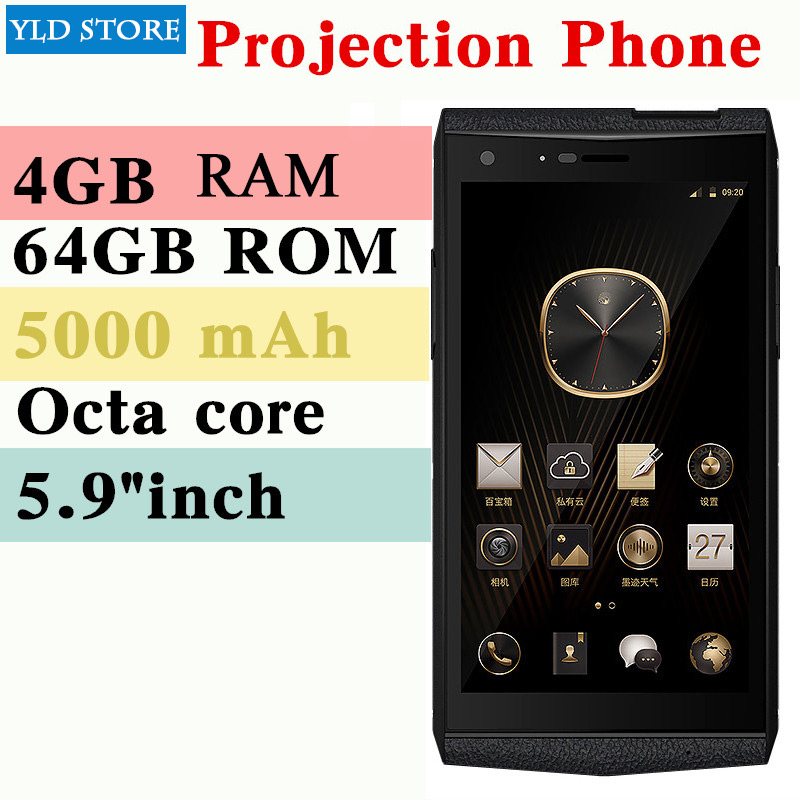 M3 Smartphone 4 gb 64 gb Octa Core Projecteur mobile D'affaires mobile Mini famille projecteur 5000 mah 5.9 POUCES