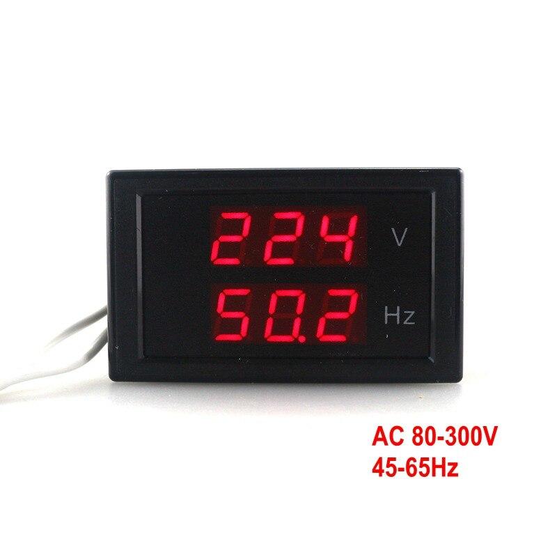 Double Affichage Tension Fréquence compteur AC 80-300.0 V 45-65 HZ Fréquence Compteur Voltmètre Hertz/HZ mètre Avec Led Rouge