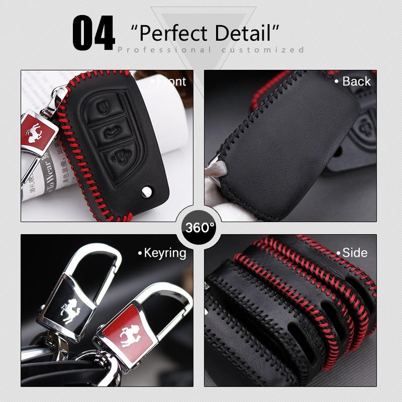 도요타 CHR RAV4에 대한 정품 가죽 자동차 키 케이스 - 자동차 인테리어 용 액세서리 - 사진 5