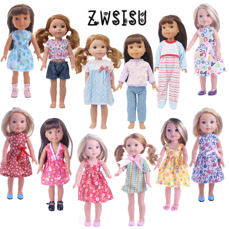 ZWSISU Doll Clothes 15 Styles Dress New Arrivals Delicate Designs For 14.5 Inch Wellie Wishers Doll For Generation Girl`s Toy