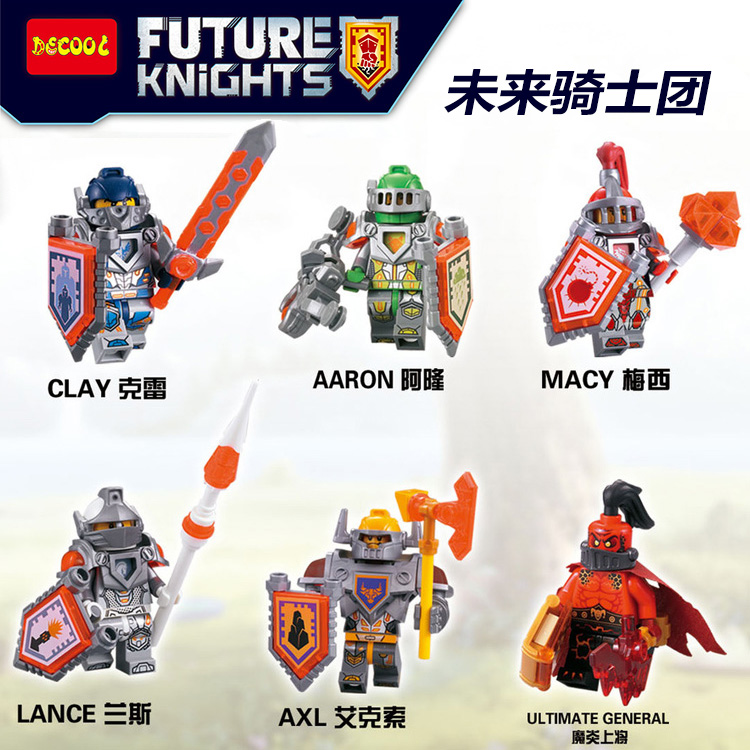 Decool 6pcs/lot Ninjago Nexo Knights Future Shield Building Blocks Castle Warrior Nexus Toys Gift Fit for Lego for minifigure недорого