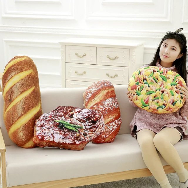 Creative simulational bread steak pizza shape plush pillow funny food nap pillow and cushion kids font