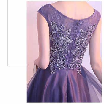 Robe de soiree Elegant O-Neck Short Front Long Back Evening Dresses Lace With Beading vestido de festa Banquet Party Prom dress