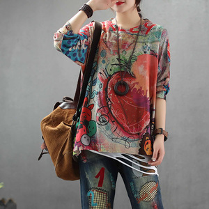 Image 2 - Max LuLu 2019 sonbahar moda kore stil bayanlar örme Tees Tops bayan gevşek baskılı uzun kollu T shirt pamuk sıcak giysi