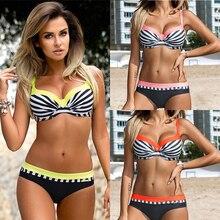 Купить с кэшбэком Women Striped Swimsuit Push Up Bikini Set Summer Bathing Suit Ajutable Strap Female Swimming Suit Bordered Biquini Maillot XXL