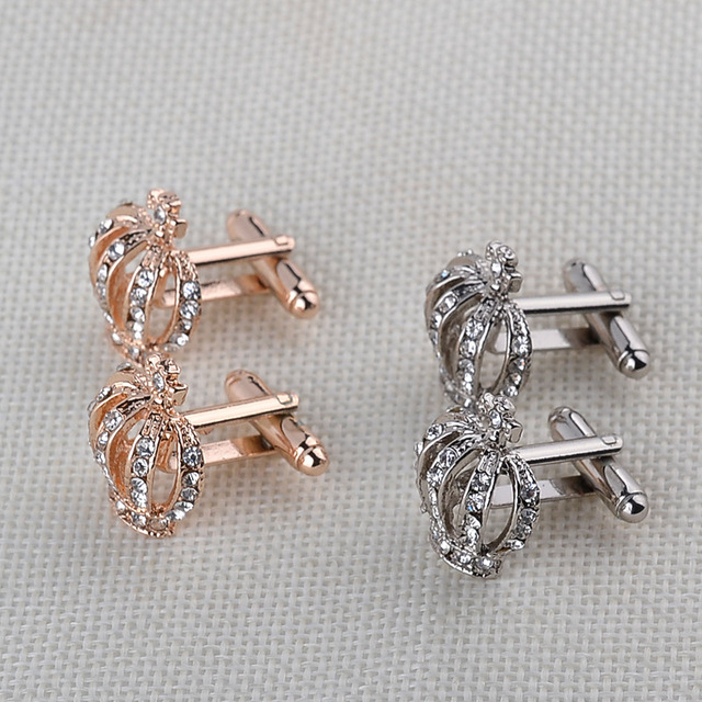 Gold Silver Crown Cufflinks Luxury Elegant Rhinestone Female French Shirt Cuff Links Jewelry