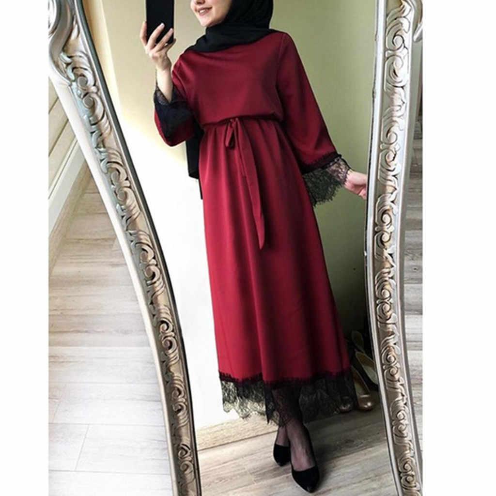 Мусульманское женское платье 2019 Новое Поступление Полиэстер Vestidos женское однотонное Абая Дубай Рамадан кафтан марокканское мусульманское платье Турецкий