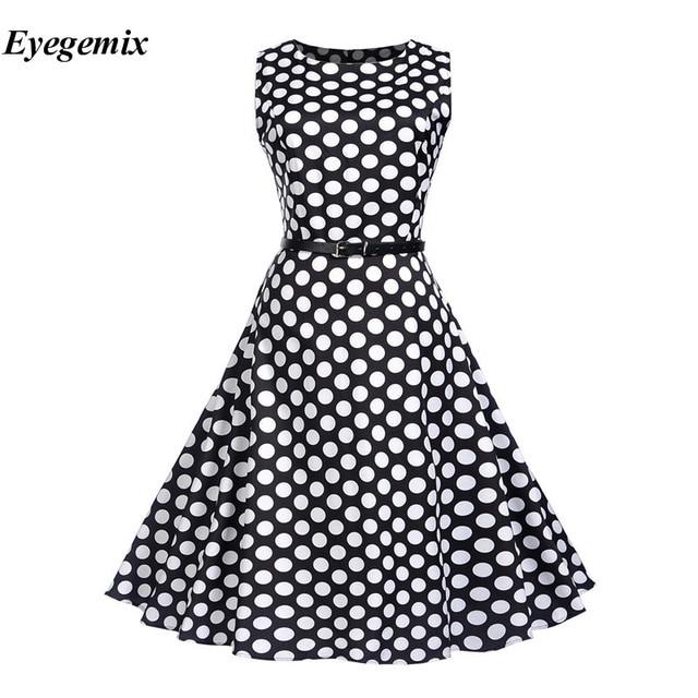232c83bf3d 1950S 60S Retro Dresses Women Polka Dots A Line Pin Up O-neck Elegant Tea  Rockabilly Vintage Women Summer Dress Vestidos 2018