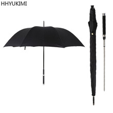 HHYUKIMI Paraguas automático de mango largo para hombre, a la moda, resistente al viento, para negocios, Guerrero espada, defensa personal, paraguas creativo soleado