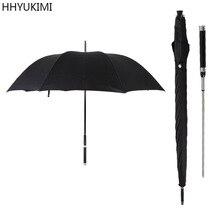 HHYUKIMI ماركة الموضة مقبض طويل رجل مظلة أوتوماتيكية يندبروف الأعمال السيف المحارب الدفاع عن النفس مشمس مظلة الإبداعية