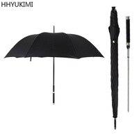 HHYUKIMI Brand Fashion Long Handle Man Automatic Umbrella Windproof Business Sword Warrior Self Defense Sunny Creative