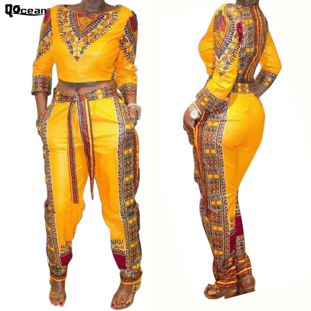 8d673de981b6 Qocean Fashion Summer Women Sexy African Style Dashiki Jumpsuit Two Pieces  Long Sleeve RD138