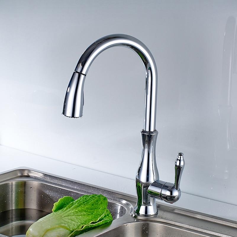 NOVO Design Cor Chrome Polido Pull Out Kitchen Sink Faucet Tap Mixer Bica  Giratória Flexível Torneiras Part 63