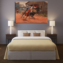Cowboy Battle By Andy Thomas Canvas Painting Prints Bedroom Home Decor Modern Wall Art Oil Posters Pictures Framework