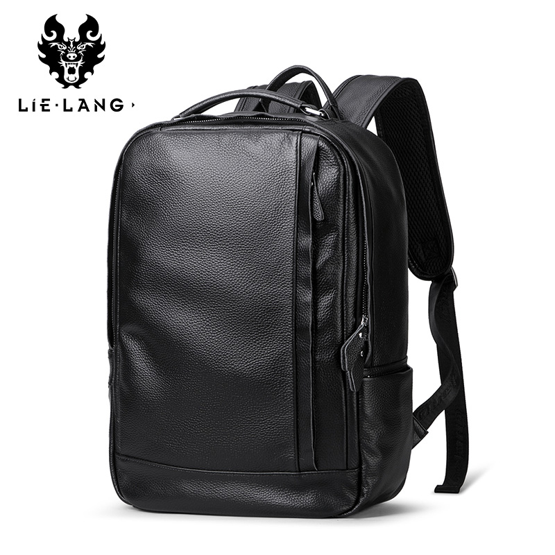 b6dcf54ae4cc LIELANG Leather Backpack Fashion School Bags For Teenager Men Laptop ...
