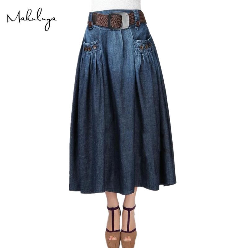 Makuluya été automne printemps femmes nouvelle mode Long Denim lâche décontracté élastique taille jupes bouton décoration avec ceinture QW - 3
