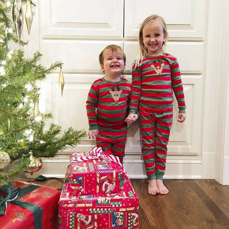 Kids Christmas Pajamas Sale Real 2018 Striped Pajamas Sleepwear ...