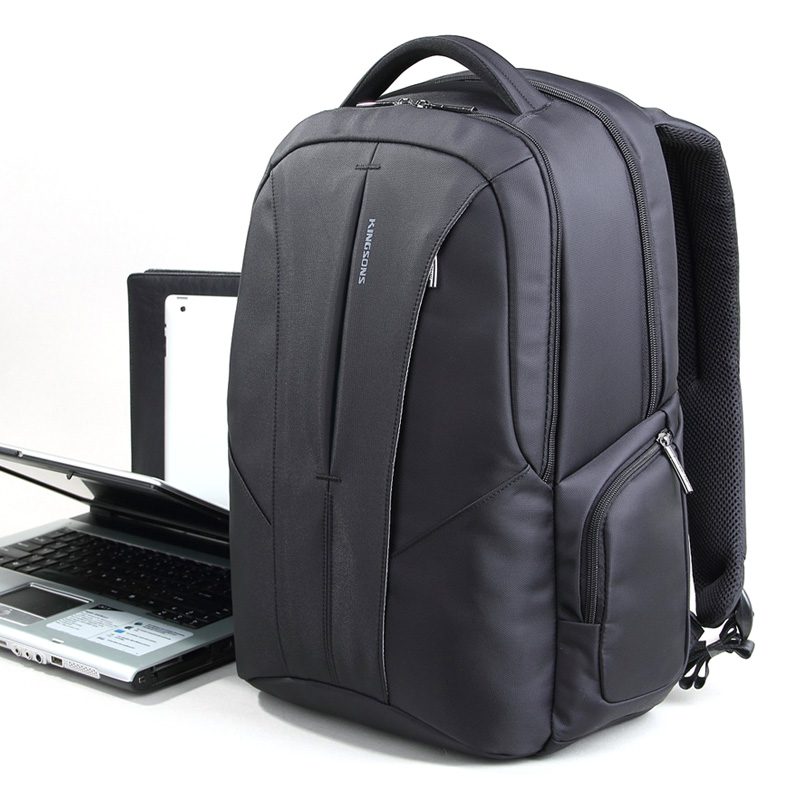 Kingsons High Quality Men's Backpack Black Laptop Backpack 15.6 Business Waterproof Nylon School Bag Computer Notebook Backpack